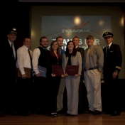 Aviation award recipients with Endeavor Air pilots