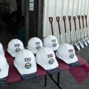 Shovels and hard hats for the groundbreaking ceremony