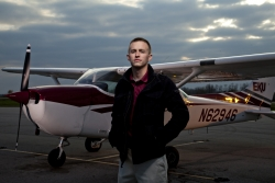 Marty Dye in front of EKU Aviation aircraft