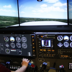 EKU Aviation student Tori Williams pilots the new SIM