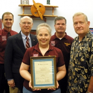 EKU Aviation officials with the FAA certificate